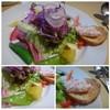 エルベッタ - 料理写真:◆サラダ・・葉物野菜がメインですけれど、スナップエンドウや紅芯大根・グレープフルーツなども盛られ、 ロースハムのパテを塗ったパンが添えられています。 ドレッシングも優しい味わいで食べやすい。