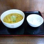 めんや えぞ一 - 素ラーメン+ミニライス(350円)