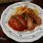 洋食屋 キッチン ふくま - イタリアンハンバーグ+エビフライ:コンビプレート
