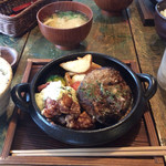 ビア ドリット - 熱々〜♪但馬牛ハンバーグ&チキン南蛮ランチ