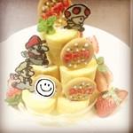和風ダイニングまんま - マリオのミニロールケーキタワー   お誕生日のお祝いケーキ  要予約