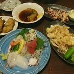 ろばた・すし ひかり - 生中2杯とこれだけの食事で1人3500円なのはCPいいかも。味は普通だけど。