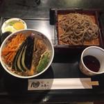 68621909 - 揚げたての野菜天丼 田舎そば(冷)セット ¥900