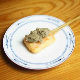 旬の食材を串揚げでお楽しみください。(ズワイ蟹カニみそのせ)