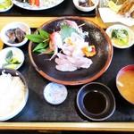 食堂 松月 - ノドグロ と 黒ムツ の刺身定食 1,600円。