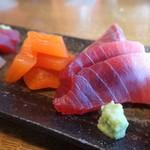 蕎麦ひら井 - インドマグロと虹鱒