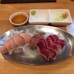 中村屋 - 《鶏刺・三種盛》650円 ムネ肉、レバー、砂肝 2017/6/15