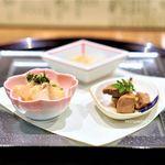 日本料理 とくを - まぐろの時雨煮 のれそれ 鯛の南蛮漬け
