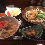 刺身屋新太郎 - 鶏天冷やし月見うどんと牛丼