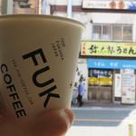 フック コーヒー - 『FUK COFFEE』は、空港・飛行機・旅行をイメージした店名だそうです。 『FUK』は福岡空港の空港コードですからね。