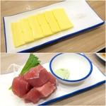 立呑み晩杯屋 - 塩チーズ¥150/まぐろぶつ盛¥200
