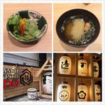 板前寿司 江戸 - ランチについてくるサラダと味噌汁など。