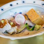 白金台こばやし - お造りは甘鯛とハモ。梅のソースといつもの醤油のムース(*^^*)