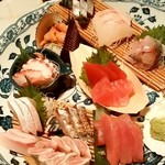 酒の魚 和海 - 酒の魚 和海@新橋 刺身10点盛りのアップ