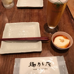 軽井沢 鶏味座 - お通しと生ビール