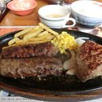 68726025 - 極み炭焼きがんこハンバーグ&炭焼きやわらかカットステーキ コンビ ランチ1,620円