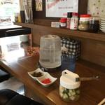 麺 dining だいふく - 紅ショウガ・高菜・ピクルス