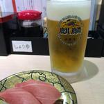 廻転寿司 海鮮 - 中トロと生ビール