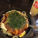 お好み焼き鉄板居酒屋 大昌 - 肉玉うどん(´∀`)広島お好み焼き(^_^) グレープフルーツジュース