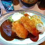 レストラン ポパイ - 日替り定食(大盛)950円(チキンカツ+肉シュウマイ+ハンバーグ)