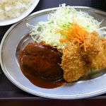 レストラン ポパイ - 3品サービスセット(大盛)950円(No.15 豚ヒレカツ+チキンカツ+ハンバーグ)