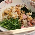 セアブラノ神 伏見剛力 - 料理写真:まぜめん、締めご飯付き。玉ねぎ入って美味しい。しつこさもそこまでない