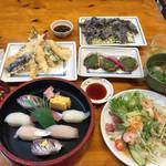 68772524 - 朝獲れ寿司、天ぷら盛り合わせ、クジラの竜田揚げ、サンガ焼き、つみれ汁、海鮮サラダ