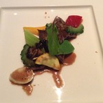 68782034 - 和牛スライスと季節野菜のオイスター醤油炒め ブラックビーンズ黒胡椒風味