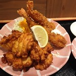 浪速鶏から 北野屋 - 170311北野定食800円エビフライと唐揚げ