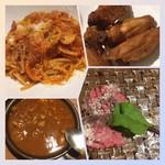 CONA - 右上から時計回り)チキンウィング、自家製ローストビーフ、イタリアンモツ煮込み、アマトリチャーナ(パスタ