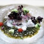茂松 - 鯵 芽芋 生海苔 土佐酢のジュレ