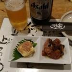 味楽 - お通し(玉子豆腐、海老とベーコンとほうれん草のバター炒め)