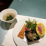中華ダイニングザイロン - 黒酢すぶたランチ(スープ(わかめ)、前菜の3種盛りと野菜サラダ)