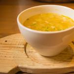 ながさき雪の浦手造りハム - 日替わりプレートのスープ ブタさんトレーがさすがハム屋さん