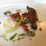 リストランテ山﨑 - 雛鳥の一皿 コンソメでポシェした胸肉とローストした腿肉
