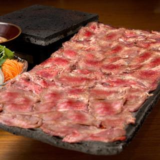 ◆◇極上とろ牛タンの焼きしゃぶと炙り和牛と雲丹の肉巻き◇◆