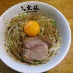 大仙 - 油そば ¥800 底からひっくり返すようにグリグリと混ぜて混ぜていただきます  ぶりっとゴワっとの最高の食感、最高ですね!!!