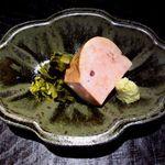 新屋敷 幸福論 - 料理写真:北海道余市産のあん肝・花山葵 これは絶品でした!!!!!濃厚でいて ふくよかな旨味、咀嚼する度に涎が溢れる・