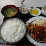 ひばり食堂 - 料理写真:ミックスB定食(カニクリームコロッケ・ヒレカツ・ゲソ唐揚げ):820円