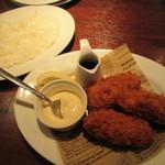 オイスター&ワイン 牡蠣屋バル - 牡蠣フライ、ライス