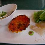 トラットリア ギヘイ - ランチの前菜 ヒラメのカルパッチョ・キッシュ・ヤギのチーズ
