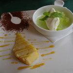 トラットリア ギヘイ - ランチのデザート 焼き菓子とメロンジェラート