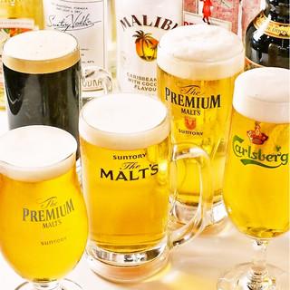 黒ビール含む5種の生ビールが飲み放題!