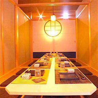 個室は7部屋。ご利用の人数に合わせ部屋を繋げることができます