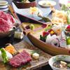Awajishimakaijouhoteru - 料理写真:新鮮なお造りと淡路牛の陶板焼きが同時に楽しめる≪御食国会席≫