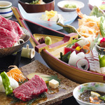 淡路島海上ホテル - 料理写真:新鮮なお造りと淡路牛の陶板焼きが同時に楽しめる≪御食国会席≫