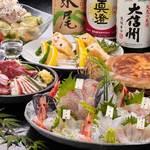 がばい寅次郎 - 天草直送鮮魚盛&馬刺しの宴会コース(2.5時間飲み放題付き/料理10品)※信州の地酒5種含む。