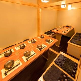 全席完全個室!しっとりとした和モダン空間で、ごゆるりと