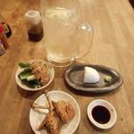 大衆鳥酒場 鳥椿 - チューリップ、梅きゅうり、刺身はんぺん、冷凍レモン角ハイボール