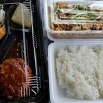 手づくり弁当の南蛮亭 - 2017/3/25 チキン南蛮+ハンバーグ弁当、鳥皮酢100円